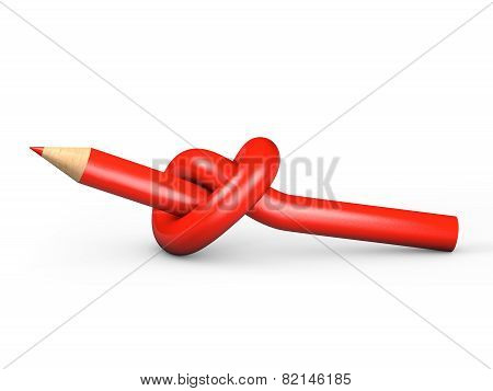 Red pencil tied in a knot on a white background