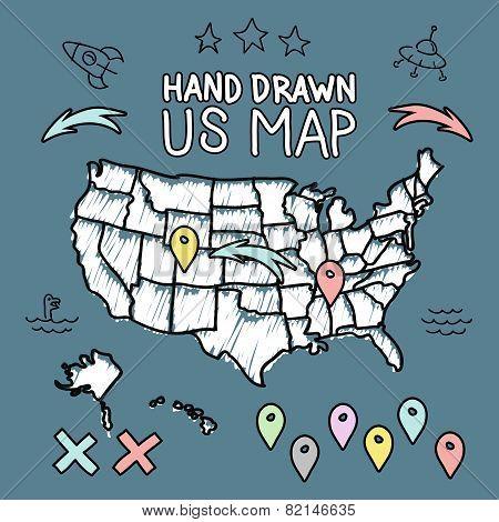 Hand drawn US map on chalkboard