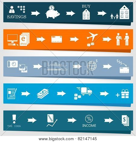 Set Elements Of Infographics And Diagrams Of Business Processes.