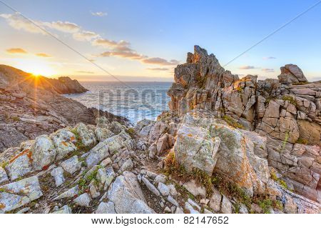 Cape Pointe Du Raz On Sunset