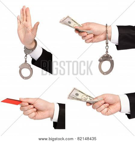 Isolated Businessman Hands One Gives Money Another In Handcuffs Refuses