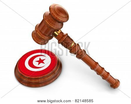 Wooden Mallet and Tunisian flag (clipping path included)