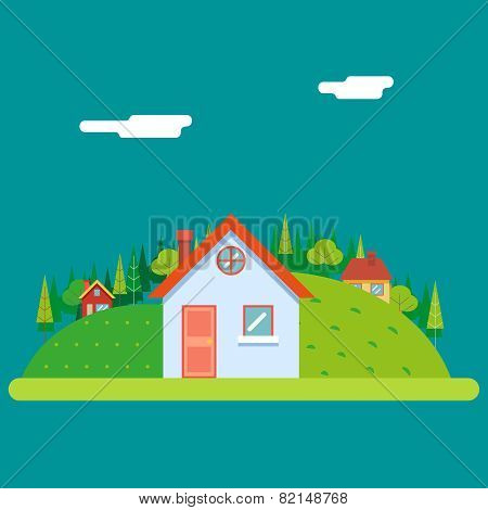 Seasons Change Summer Village Hills Field Landscape Icon Website Greeting Card Flat Design Vector Il