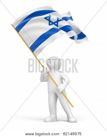 Man and Israeli flag (clipping path included)