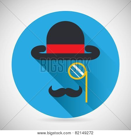 Gentleman Accessories Symbol Bowler Hat and Monocle Mustache Silhouette Icon Stylish Background Mode
