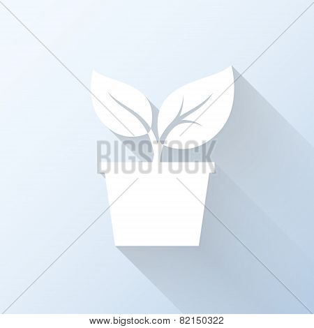 Flat Plant Icon With Long Shadow. Vector Illustration