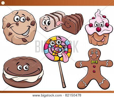 Sweets And Cookies Set Cartoon