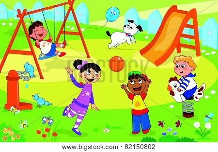 Playground with kids