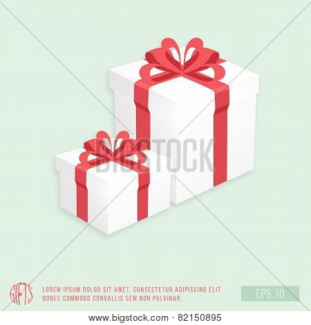 White Gift Boxes with Fancy Red Ribbon, Vector Illustration