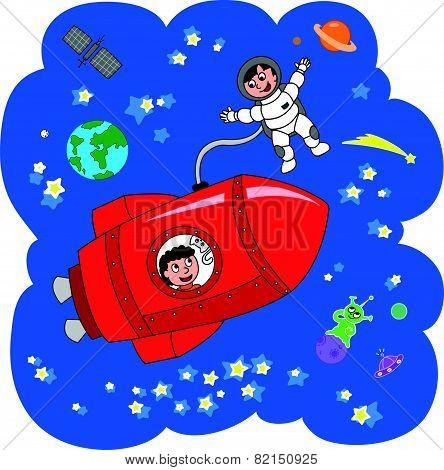 Spacemen and rocket