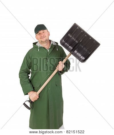 Man with shovel