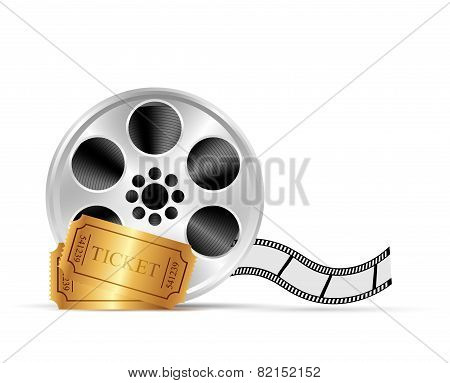 Realistic reel of film and tickets. Illustration on white background