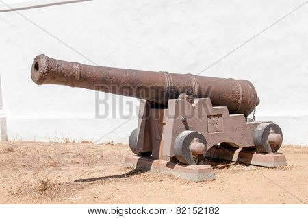 Rusty Old Cannon At The Historic Powder Magazine In Stellenbosch