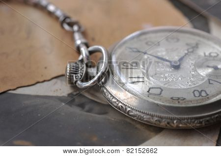 Old Watch On The Post Card And Photo