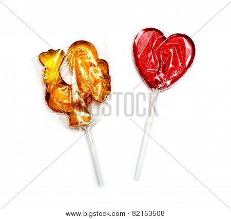 Candies On A White Background