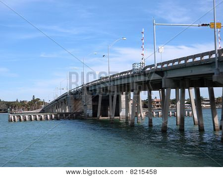 Siesta Keys North Bridge With Bird Flying Over