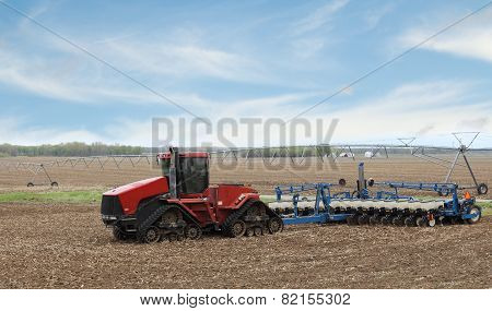 Red Farm Tractor And Planter