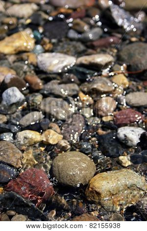 Wet stones in a river