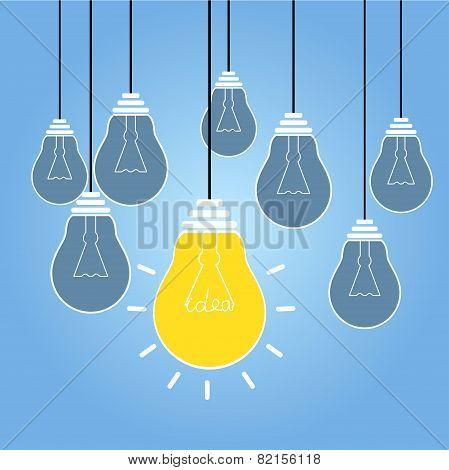 Idea vector illustration with bulb lamp