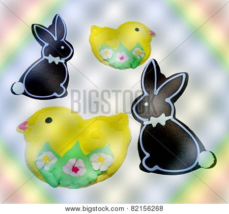 Delicious Easter bunnies and chick cookies on a fancy background