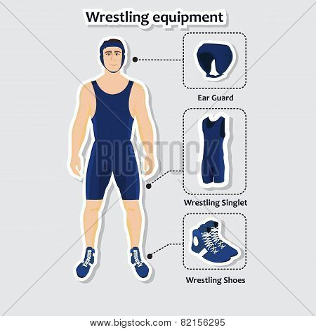 Set of wrestling equipment with man