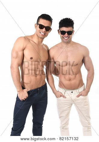 Homosexual Attractive Gay Men Couple In Love With Naked Torso And Fit Body