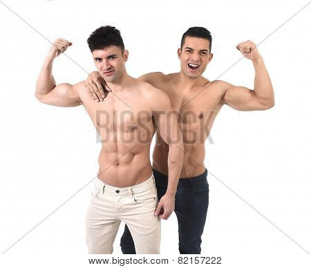 Homosexual Attractive Gay Men Couple In Love Happy Showing Biceps And Naked Torso