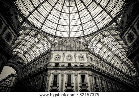 MILAN, ITALY, OCTOBER 02 2014: Dome of Galleria Vittorio Emanuele II after renovation Milan Italy