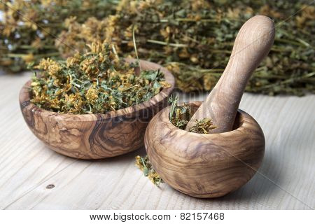 Mortar With Pestle, Olive Wood Bowl And Dry Grass Hypericum.