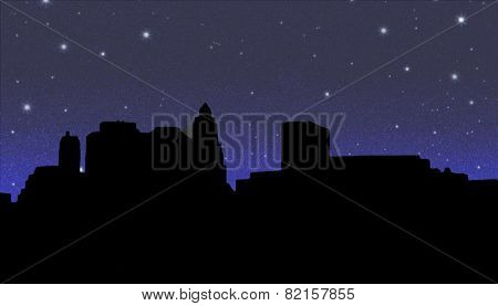 Lower Manhattan Silhouette On The Night Starry Sky Background