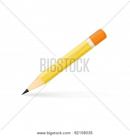 Vector illustration of sharpened detailed pencil isolated on white background