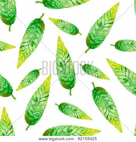 Seamless Vector Pattern With Watercolor Leaves.