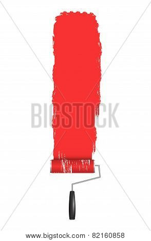 Red Roller Brush Painting on Wall. Various Paint Strokes on White Background. Vector Design Elements