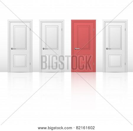four closed doors in a white room,
