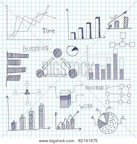 financial charts drawn by hand, illustration, FTP.