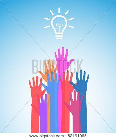 every hand want bulb or new idea concept vector