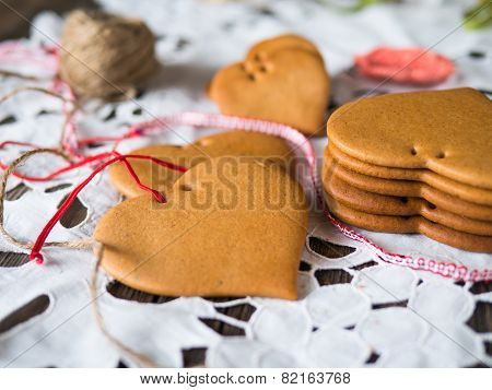 Ginger gingerbread holiday icing painted.
