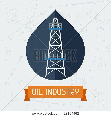 Oil derrick in oilfield background.