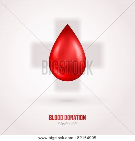 Donate drop blood sign with shadow
