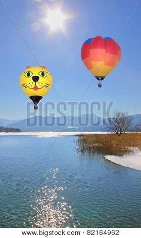 Floating Hot Air Balloons Over Lake Tegernsee, Germany