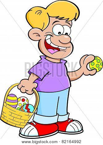 Cartoon boy on an Easter egg hunt.
