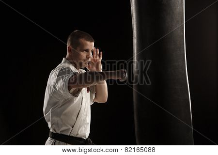 Karate kick in a punching bag