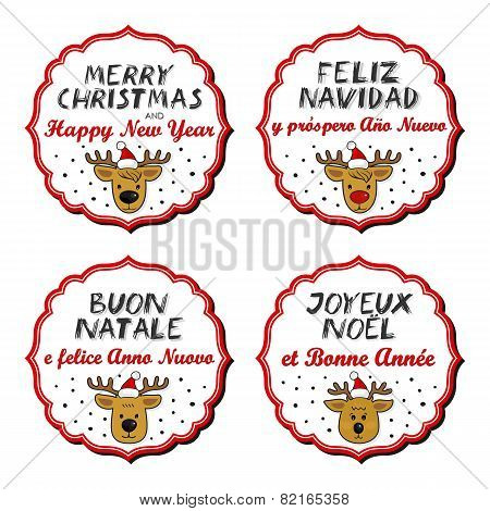 Reindeer in Santa Claus hats with Christmas wishes in English French Spanish Italian sticker set