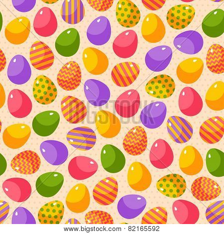 Easter seamless pattern with colorful ornate eggs.