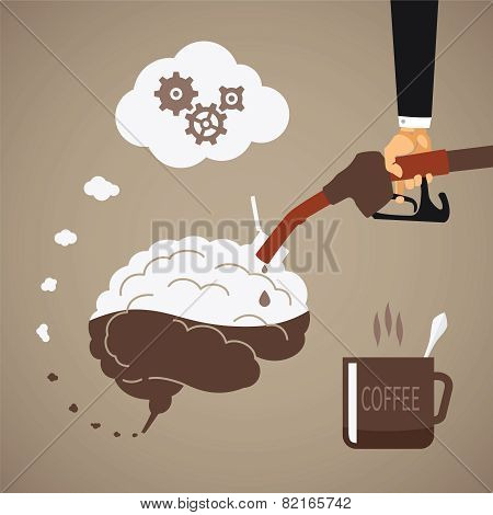 Vector Concept Of Vigorous Mind With Coffee Or Caffeine
