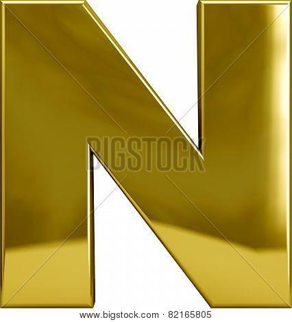 Gold Metal Letter N