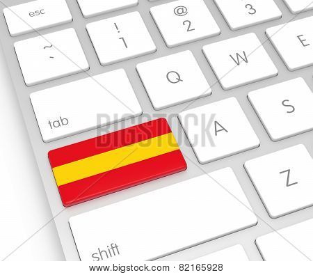 Spain Flag On Computer Key