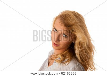 Portrait Of Beautiful Young Blonde, Woman Isolated Over White Background