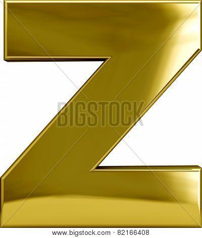 Gold Metal Letter Z