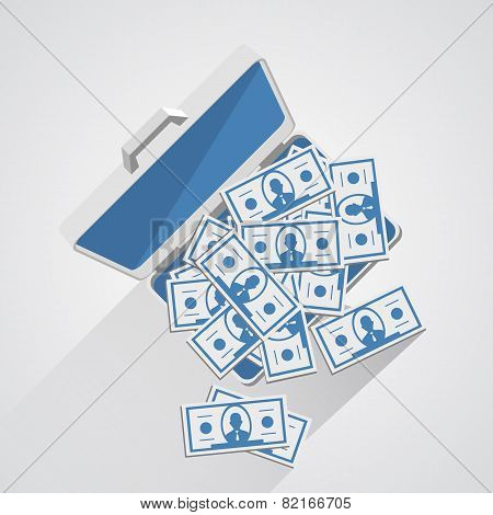 Case with money. Vector